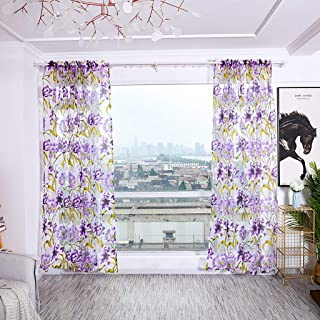 Excursion Home 1 Panels Sheer Curtain, Floral Pattern Tulle Window Valance Voile Fabric Rod Pocket Decorating Drapes for Hall Living Room Dining Bedroom, W39 x H78 Inch