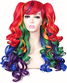 ColorGround Long Curly Cosplay Wig with 2 Ponytails(Rainbow Color)