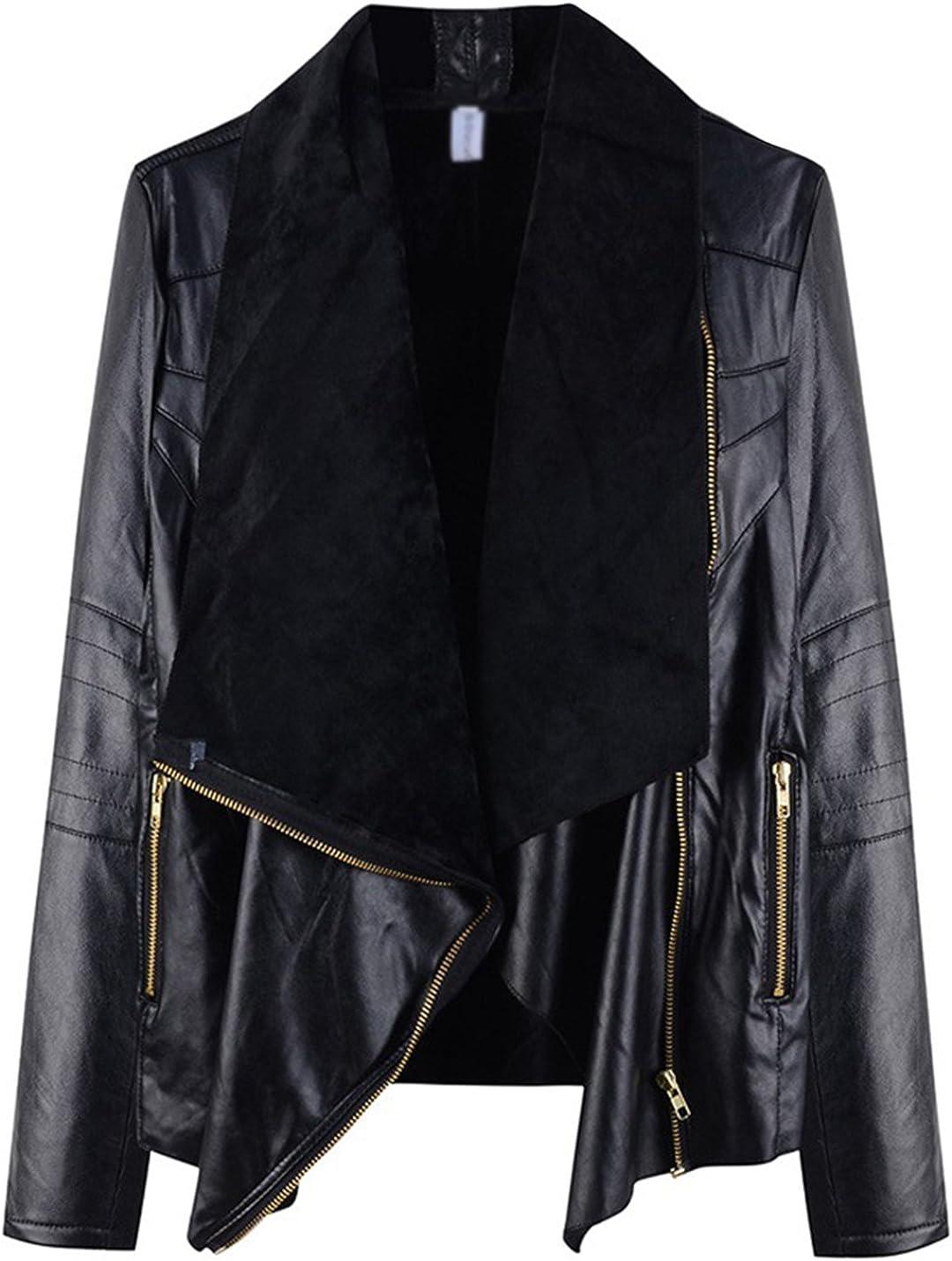 Uaneo Women's Turn Down Collar Zip Up PU Faux Leather Loose Fit Moto Biker Jacket Coat Outwear