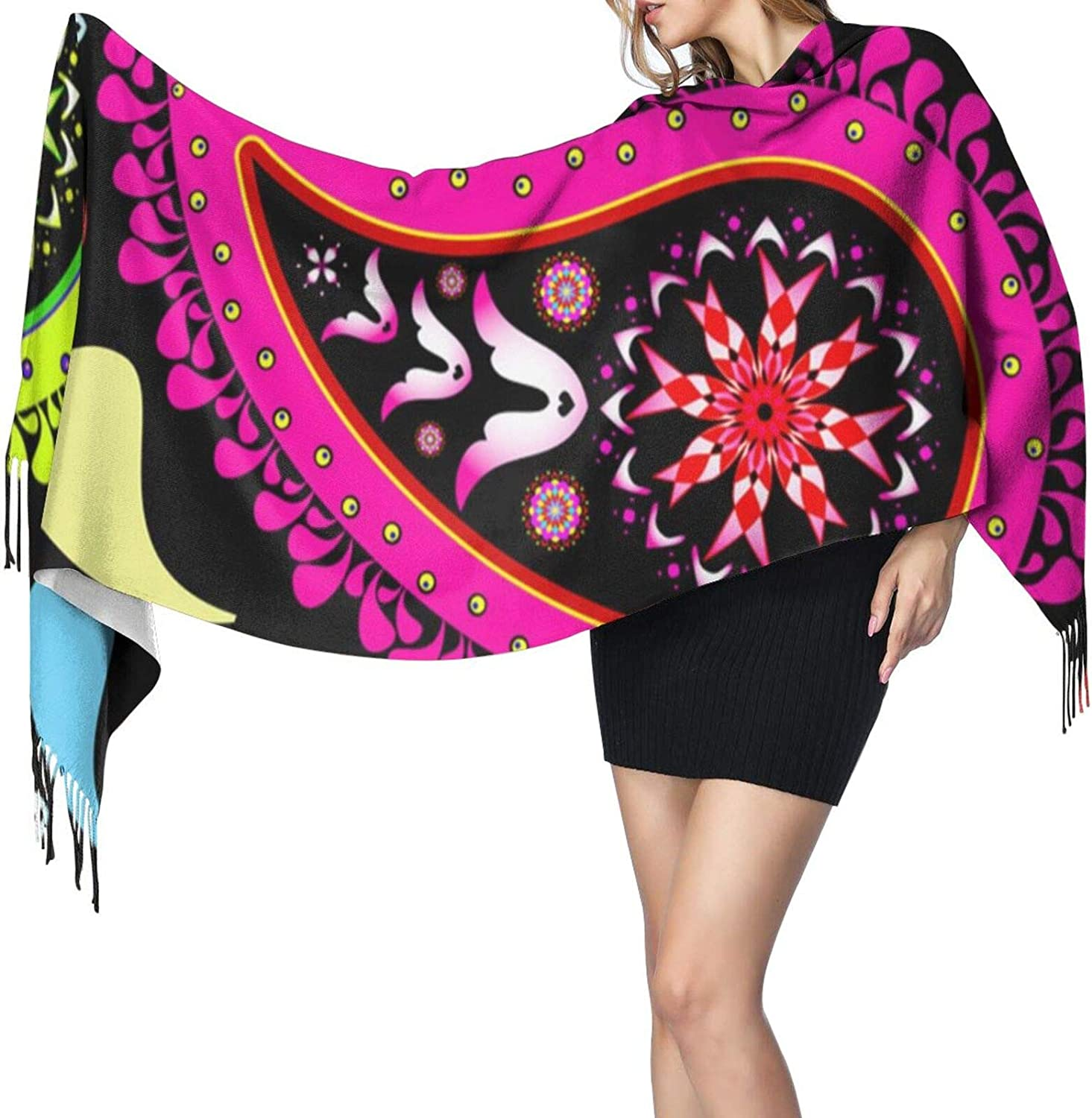 Scarfs For Women, Long Scarves Colorful Ethnic Feather Warm Cozy Elegant For Winter Fall