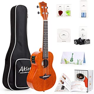 Soprano electric Ukulele Uke With Free Online Course 8 Packs Beginner Starter Kit (Gig Bag Picks Strap String Cleaning Clo...