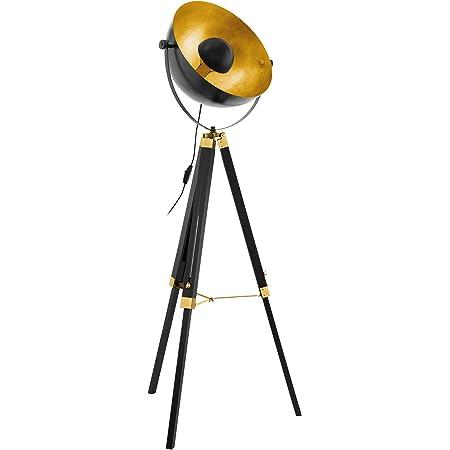 EGLO lampadaire COVALEDA, lampe de sol à flamme industriel, vintage, moderne, lampe sur pied en bois et acier, lampe de salon en noir, or et laiton, lampe avec interrupteur, douille E27