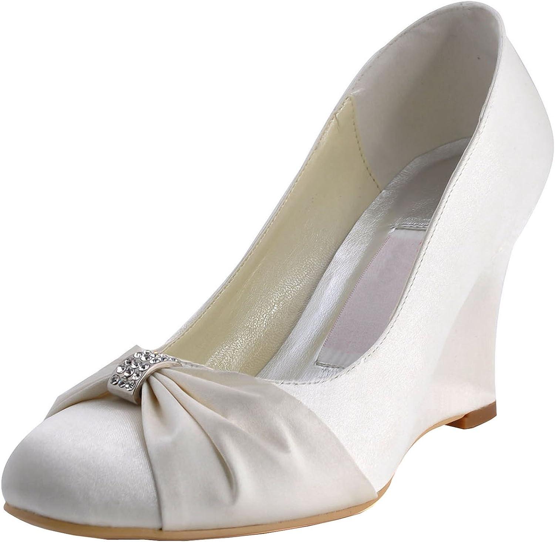 Minitoo Womens Round Toe High Heel Wedge Rhinestion Bridal Satin Pump