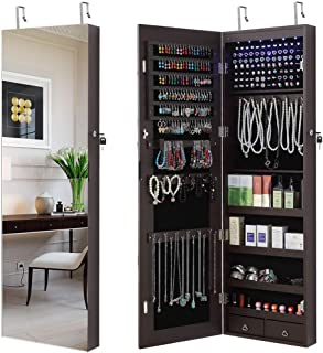 GISSAR Full Length Mirror Jewelry Cabinet, 6 LEDs Jewelry Armoire Wall Mounted Over The Door Hanging, Jewelry Organizer Storage with Lights Lockable Brown