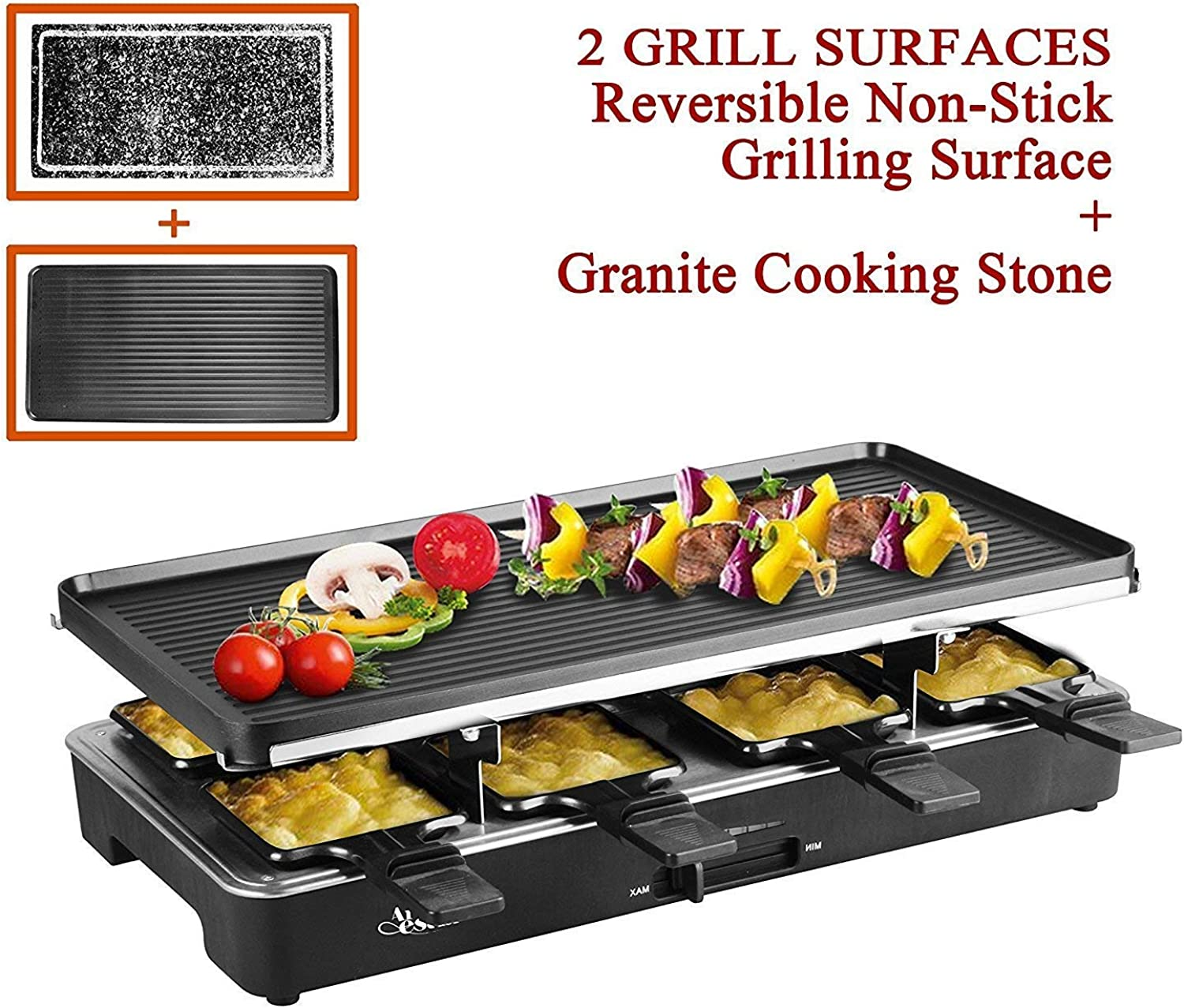 Artestia Electric Raclette Grill with Two Full Size Top Plates (Non-Stick Reversible Aluminum and High Density Granite Stone), Serve the whole family (Full Size Stone and Aluminum Plates Raclette)