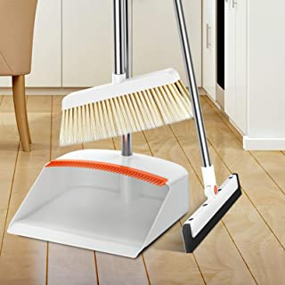 Broom Dustpan Set Long Handle - Sweeper Brush and Dust pan Set Combo with 40 Inch Extendable Long Handle for Home Kitchen Room Office Cleaning