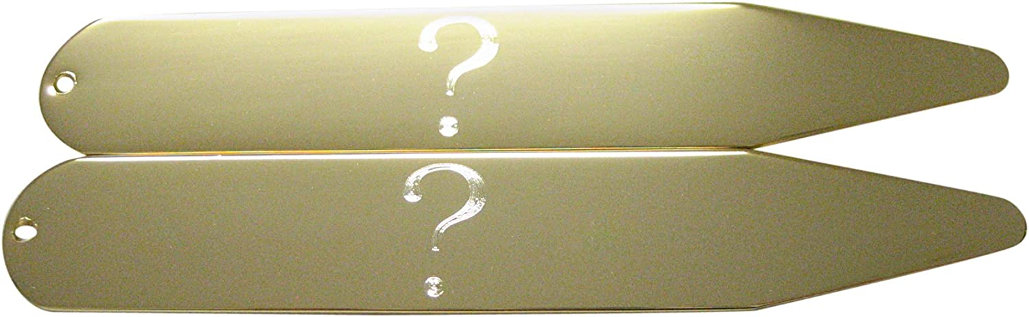 Kiola Designs Gold Toned Etched Question Mark Collar Stays