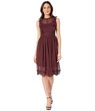 Ted Baker Porrla Frill Lace Midi Dress (Deep Purple) Women