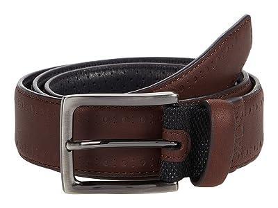 Johnston & Murphy XC4 Perfed Edge Belt (Mahogany Leather) Men