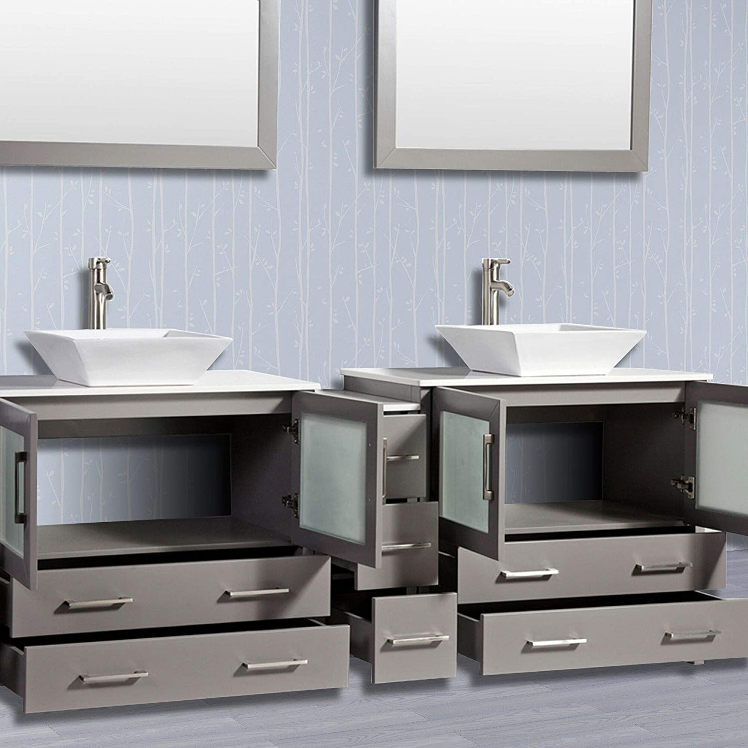 Buy Vanity Art 84 Inch Double Sink Bathroom Vanity Compact Set 3 Cabinets 2 Shelves 7 Dove Tailed Drawers Quartz Top And Ceramic Vessel Sink Bathroom Cabinet With Free Mirror Va3136 84 G Online In