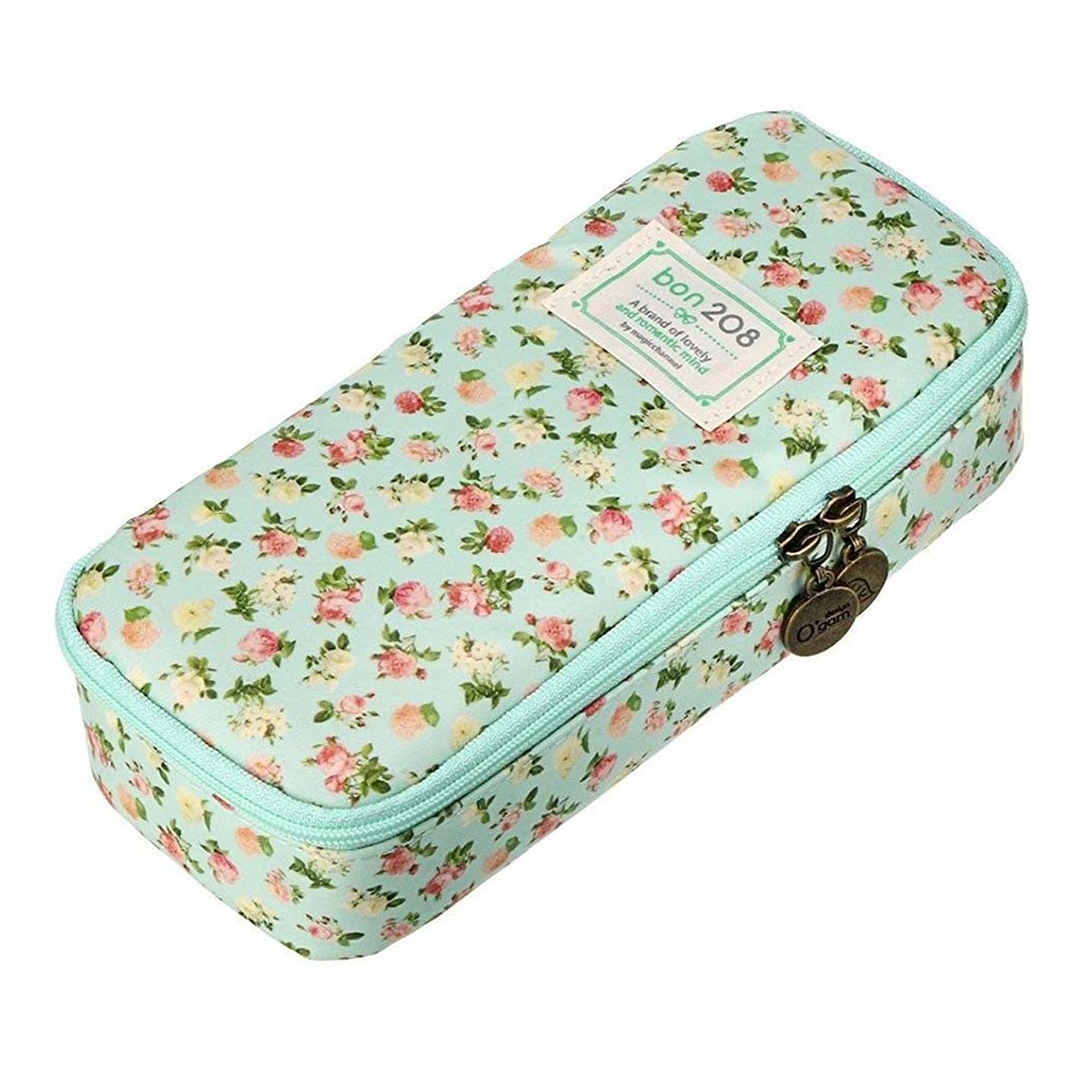 樹皮静的納税者BTFirstかわいいペンケース大容量花ペンシル文房具オーガナイザー多機能化粧品バッグ