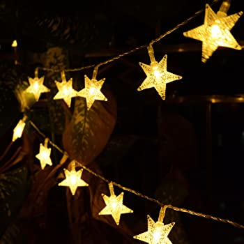 Homeleo Warm White 50 Led Star Fairy Lights with Remote Control, Battery Powered Five-Pointed Star String Lights