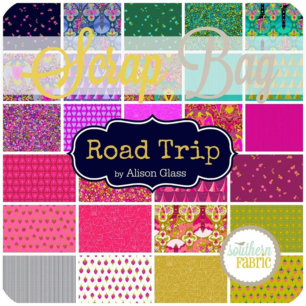Andover Road Trip Scrap Bag (Approx 2 Yards) by Alison Glass 2 Yards of Fabric (at Least 8 Pieces) 2 to 17 inch Strips DIY Quilt Fabric