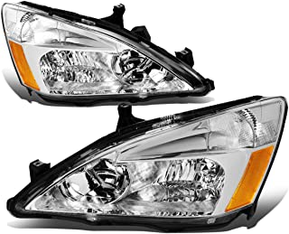For 03-07 Honda Accord Pair of Chrome Housing Amber Corner Replacement Headlights/Lamps