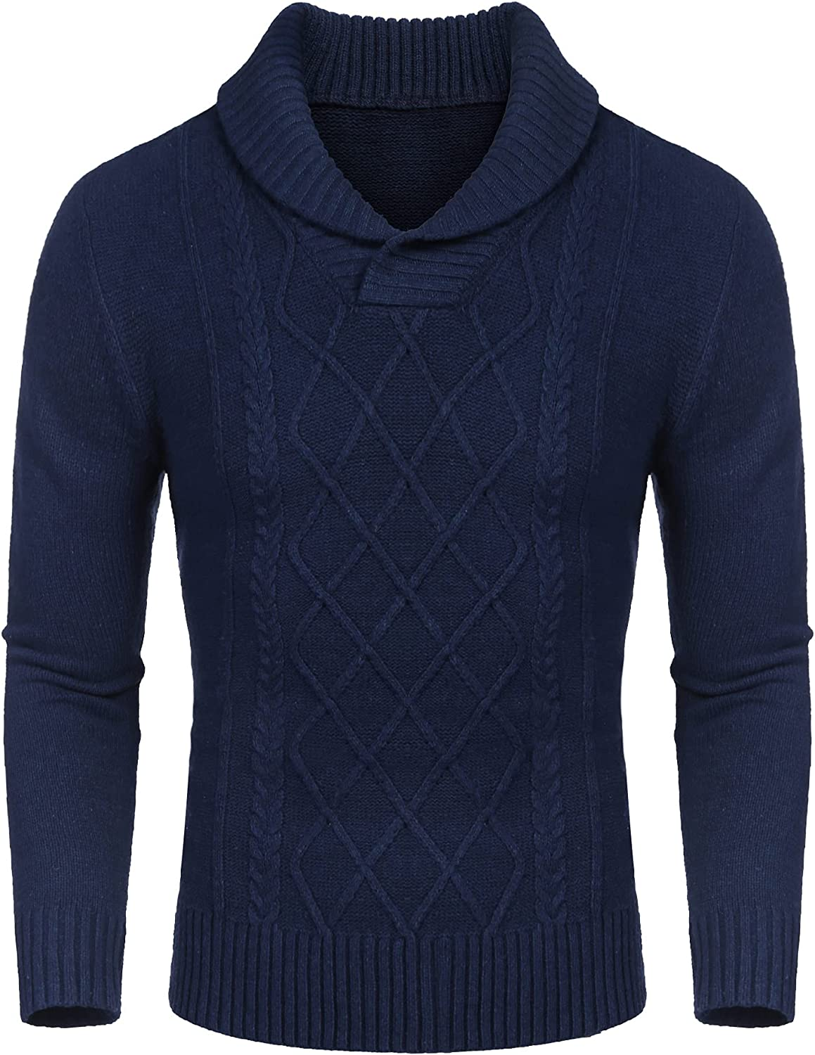 COOFANDY Men's Shawl Collar Sweaters V-Neck Relaxed Fit Cable Pullover