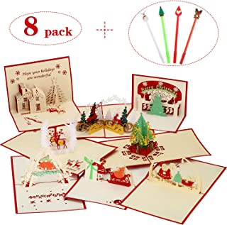 8 Pieces 3D Christmas Card Pop Up Cards and 4 Pieces Gel Ink Pen, Greeting Holiday Postcard Gift with Envelope and Pens Set for Christmas/Birthday/New Year