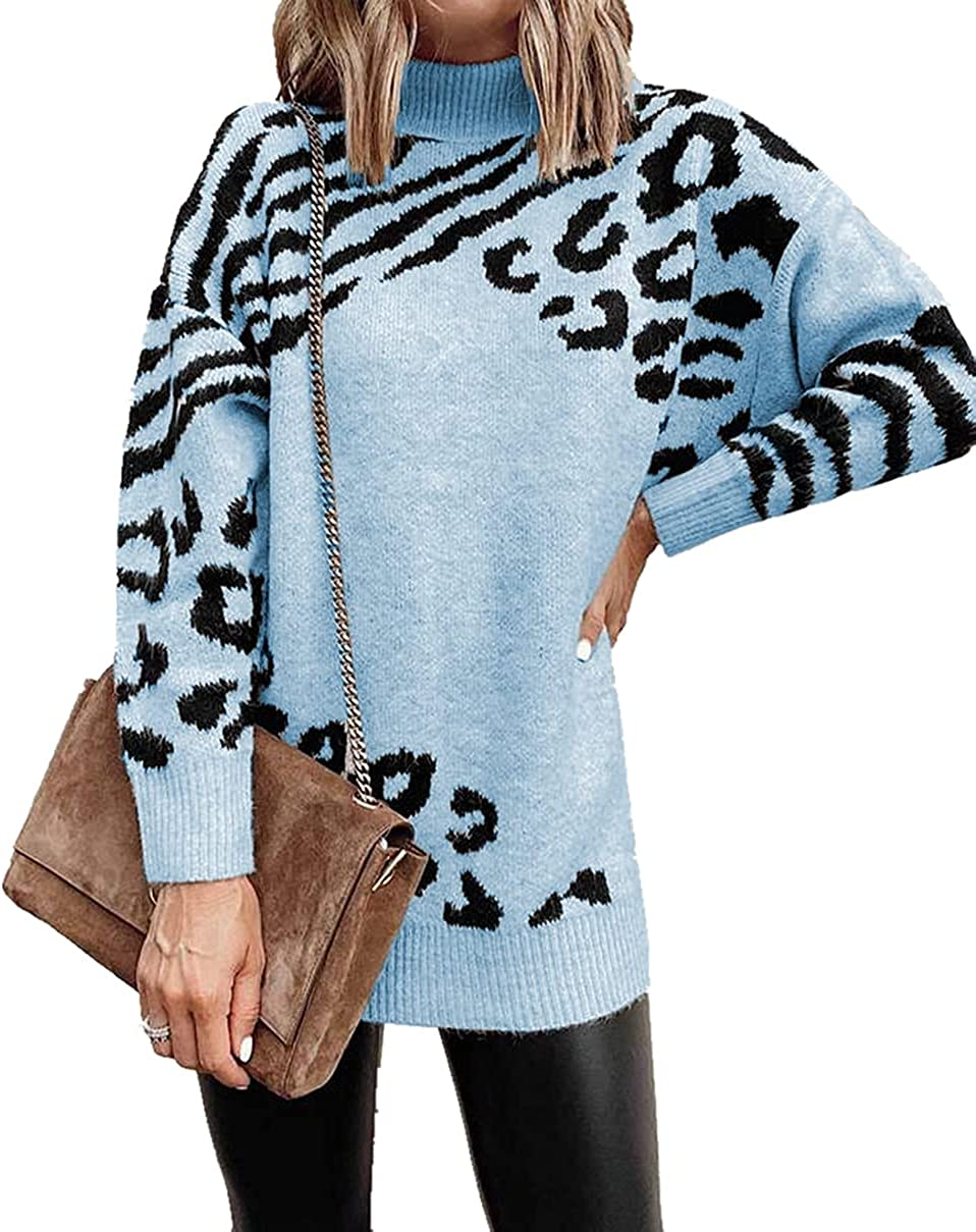 YOXUA Women's Turtleneck Long Sleeve Loose Fit Knitted Tunic Tops Printed Pullover Sweaters
