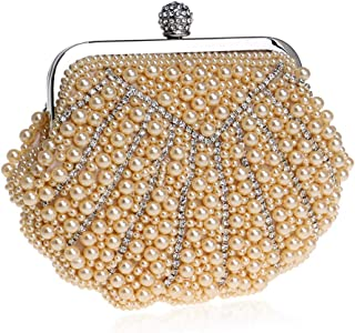 Shell Lady Pearl Clutch,Ladies Beaded Dress Dinner Bag,Stylish and Generous Lady Clutch,for Formal Occasions(18.5 * 5.5 * 14.5Cm),Champagne