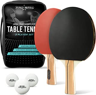 PRO SPIN Ping Pong Paddle Set - 2 High-Performance Paddles/Rackets, 3 White Pro Table Tennis Balls, Premium Storage Case | Professional Table Tennis Set for All Levels | Indoor & Outdoor Games