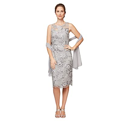 Alex Evenings Petite Short Embroidered Shift Dress with Illusion Neckline and Shawl (Dove) Women