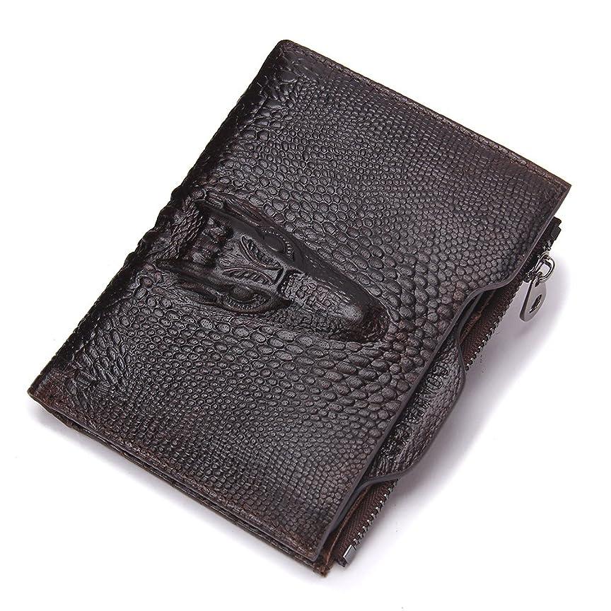 巻き戻すところで管理するContacts本革Alligator Money Coin Purseメンズ財布with IDカードホルダー