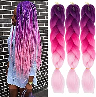MSCHARM 5 Pack Synthetic Jumbo Braiding Hair Extensions Hair Ombre Twist Braiding Hair High Temperature Hair Extensions for Black Women 100g/Pack 24Inch (60CM) (Purple-Peach Red-Pink)