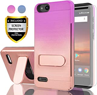 AYMECL ZTE Tempo X Case,ZTE Avid 4 Case,ZTE Fanfare 3 Case with HD Screen Protector,[Card Slots Holder]Plastic TPU Hybrid Gradient Color Dual Layer shockproof Case for ZTE N9137-GC Purple&Rose Gold-1