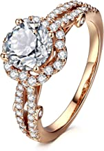 AllenCOCO Cubic Zirconia Ring 14K Gold Plated Halo Engagement Wedding Rings for Women