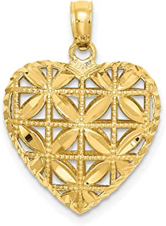 Lex & Lu 14k Yellow Gold Polished 3D Heart Pendant