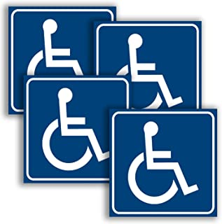 Handicap Stickers Decal Symbol - 4 Pack, 6x6 in - ADA Compliant - Disabled Wheelchair Sign, Disability Sticker, Premium Fr...