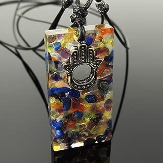 Handmade Seven Chakra Healing Stones Pendant Necklace for Men's Women's Hamsa Hand Bead Amethyst Lapis Aquamarine Olivine Citrine Carnelian Garnet Genuine with Epoxy Resin 925 Sterling Silver