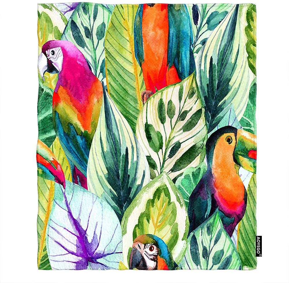 AOYEGO Watercolor Parrots Throw Blanket Exotic Tropical J NEW before selling ☆ Classic Leaves