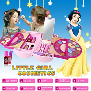 Blueyouth 53PCS Cosmetic Kit for Disney Pandora Magic Mirror Series Makeup Toy | Washable And Non Toxic | Princess Real Makeup Kit With Case | Ideal Gift For Children.