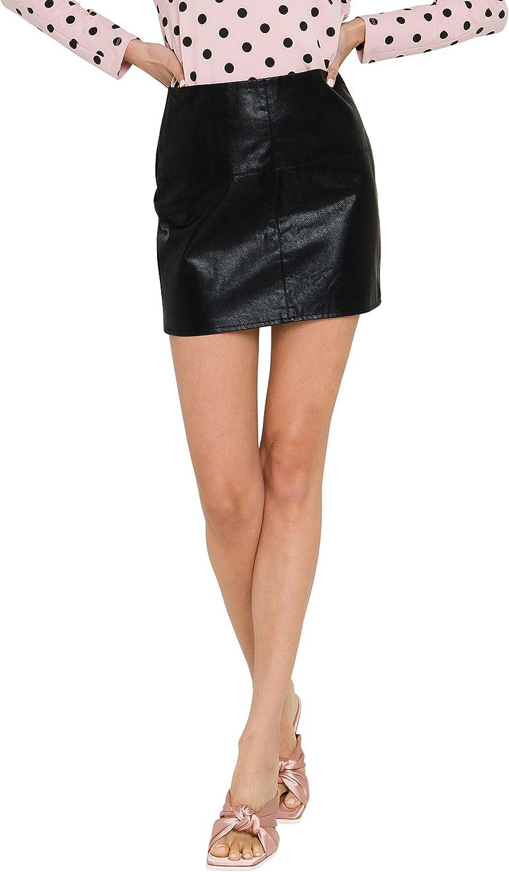GREY LAB Women's Leather Mini Skirt Large Black