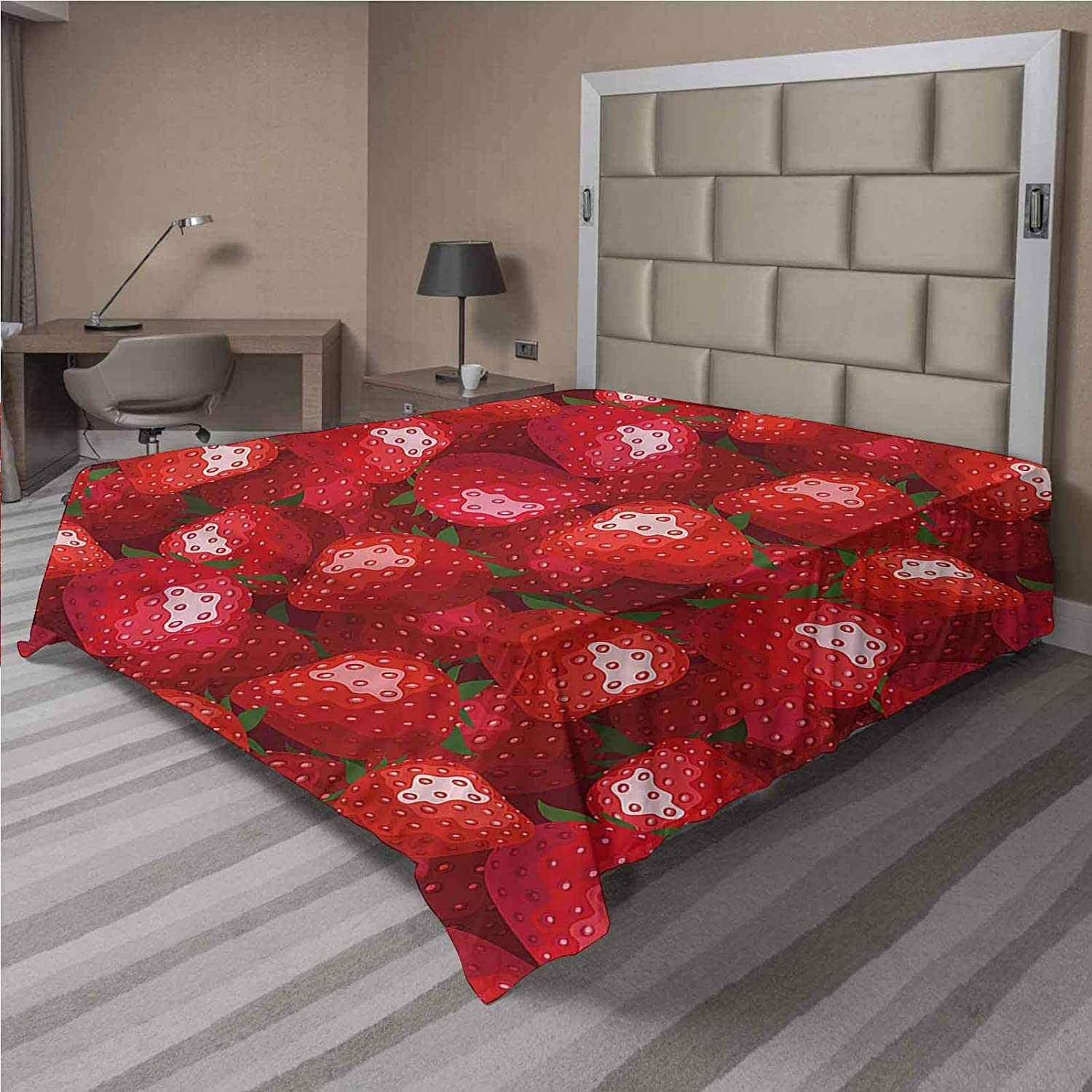LCGGDB Red Flat Cash special price Top Sheet Comforta Fruits Strawberries Soft Be super welcome Ripe