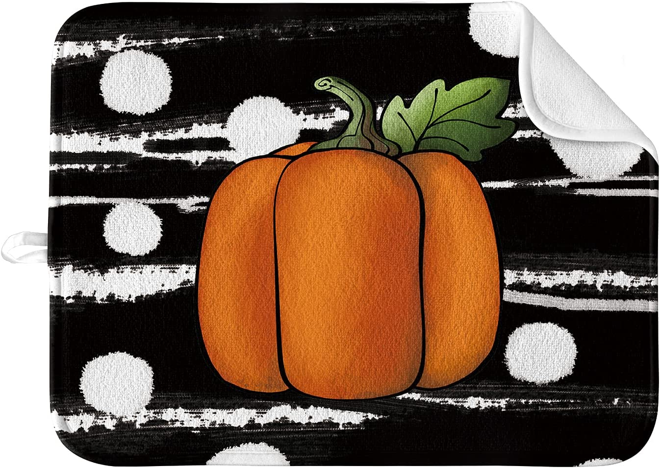 Artoid Mode Fall Direct sale of manufacturer Black Dot Pumpkin Drying Austin Mall Dish Kitchen for C Mat
