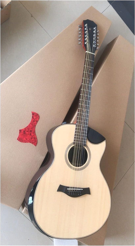 YYYSHOPP Guitarra AAA Calidad 12 Cuerdas Guitarra Grand Auditorium Armrest Bisveled Cutway 12 String Solid Acústica Guitarra eléctrica Adecuada para Jugadores en Todas Las etapas