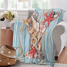 Luoiaax Letter Y Commercial Grade Printed Blanket Aquatic Typography with Y Blue Vertical Planks Starfishes Scallops Queen King W57 x L74 Inch Pale Blue Ivory Dark Coral