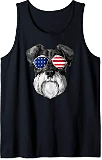 Patriotic Schnauzer American Flag Glasses 4th July Schnauzer Tank Top