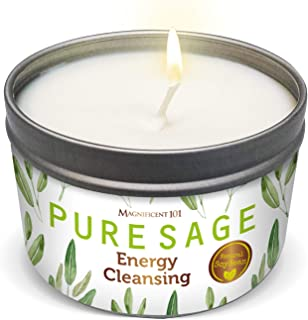 MAGNIFICENT 101 Pure White Sage Smudge Candle for House Energy Cleansing, Banishes Negative Energy I Purification and Chak...