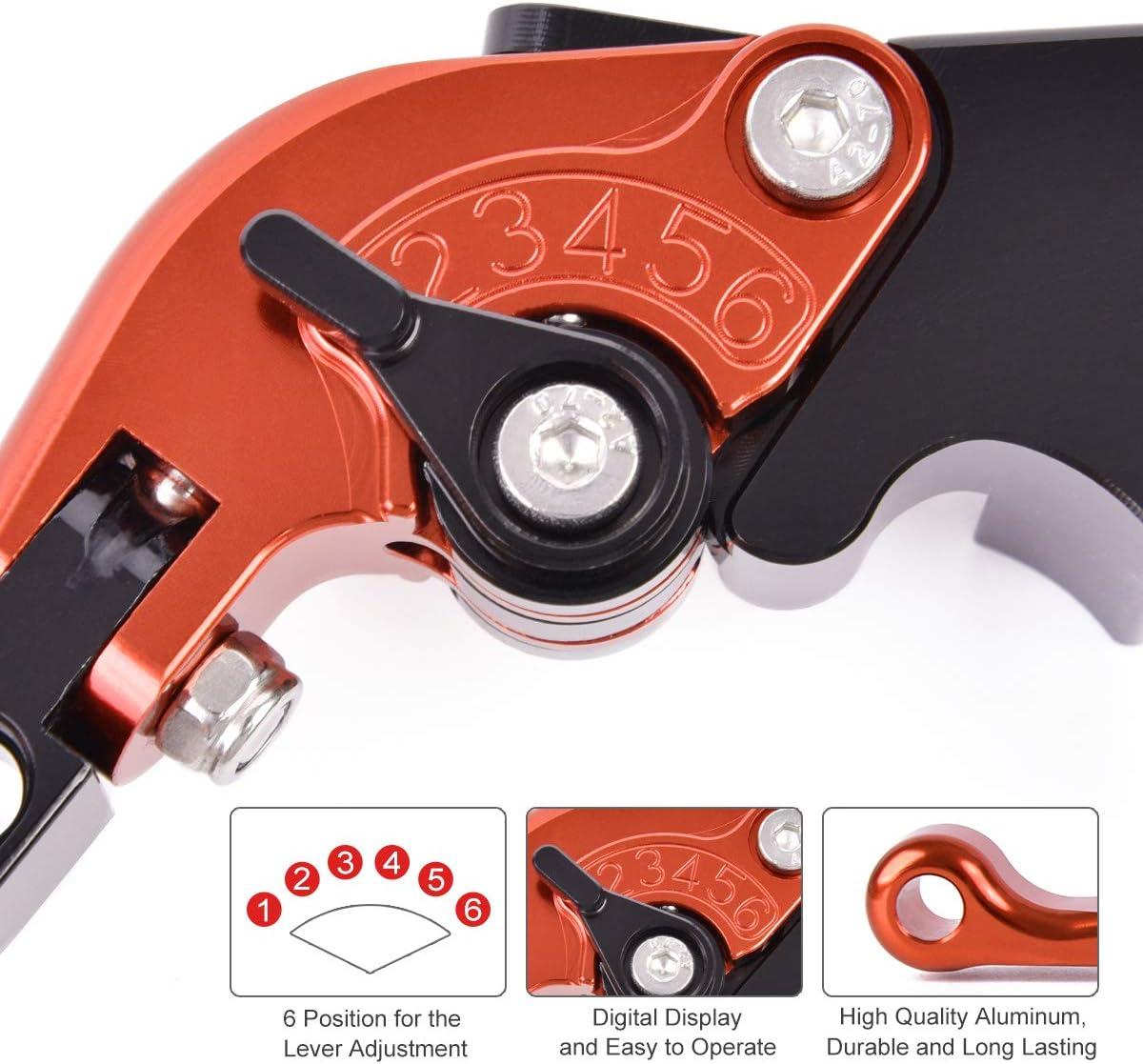 Auzkong vouwbare verstelbare CNC remkoppelingshenders voor Aprilia RS 250 1995-2002, Pegaso 650 1992-2004 Green-Silver-Red-2 Orange-Black-Orange