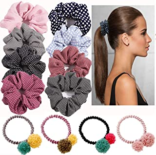 12 Pace Hair Scrunchies, Chiffon Cotton Scrunchies for Hair Ties, Elastic Hair Bands Rope Hairband Plush Ponytail Holder For Women Girl, 8 Pack Hair Scrunchies+4 Pack Balls Elastic Hair Ties