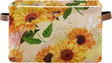 FORMEETY Flower Sunflower Painting Storage Bin Kids Women Canvas Collapsible Cube with Handles Storage Basket Box for Home...