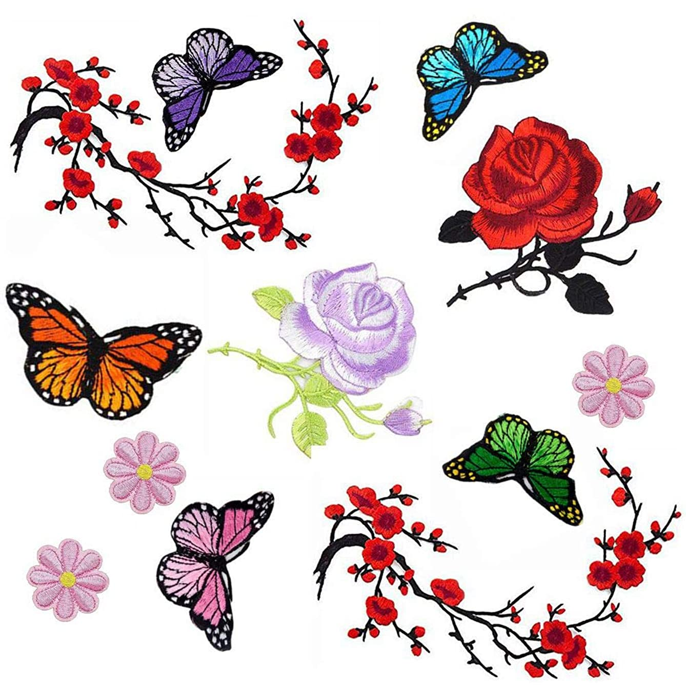 Budicool Plum Flower Butterfly Iron on Patches Embroidery Applique Patches for Arts Crafts DIY Decor, Jeans, Jackets, Clothing, Bags (Pack of 12pieces)
