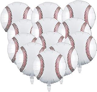 12 Pcs 18 inch Baseball Balloons,Sports Themed Party Decor Foil Mylar Baseball Balloons for Boys Girls Gender Reveal Birth...