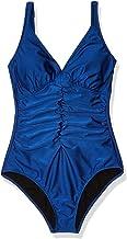 Profile by Gottex Women's Split Print Ruffle Trim V-Neck One Piece Swimsuit