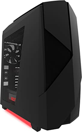NZXT Noctis 450 gabinete de computadora Midi-Tower Negro, Rojo - Caja de Ordenador (Midi-Tower, PC, ABS sintéticos, SECC, ATX,Micro-ATX,Mini-ITX, Negro, Rojo, 14 cm)