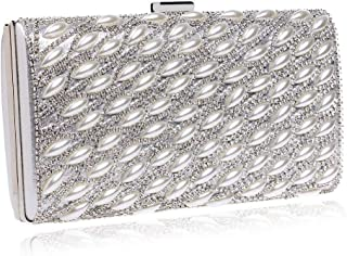 Ladies Banquet Bag Personality Ladies Fashion Beaded Crystal Rhinestone Clutch Bags Banquet Bag Pearl Hand Holding Evening Bag Good-Looking (Color : Black) (Color : Silver)