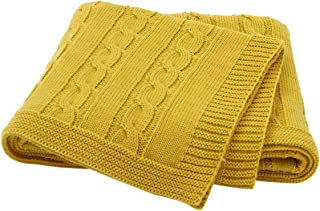 "Sumery Su Infants Baby Blankets Knit Toddler Blanket for Newborn Boy and Girls Size 30""x 40"" Yellow"