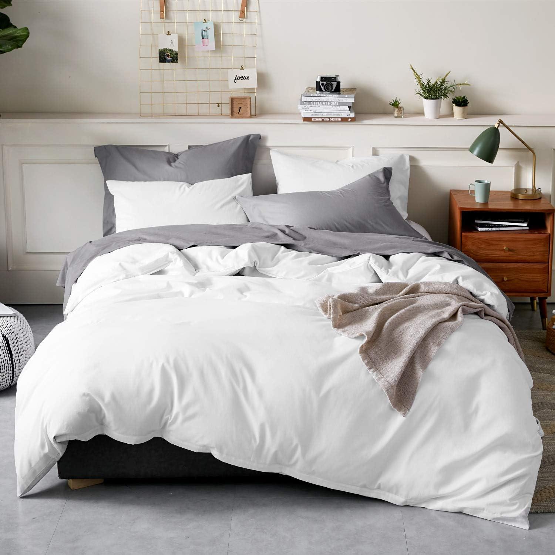 Bedsure 100% Washed Cotton Duvet Covers Queen Size - White Comforter Cover Set 3 Pieces (1 Duvet Cover + 2 Pillow Shams) : Home & Kitchen